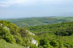 Vista del paesaggio collinoso di Palava con le foreste, rocce in Moravia del sud sotto un cielo blu Immagini Stock Libere da Diritti
