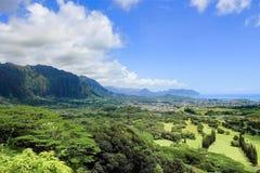 Vista del paesaggio dall'allerta di Nuuanu Pali Immagini Stock Libere da Diritti