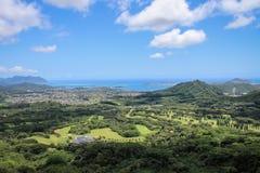 Vista del paesaggio dall'allerta di Nuuanu Pali, Oahu, Hawai Immagine Stock Libera da Diritti