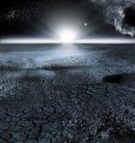 Vista del paesaggio della luna, o paesaggio lunare fotografia stock