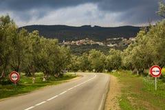 Vista del paesaggio della molla intorno alla città del EL mA, Marocco di Rass Fotografia Stock