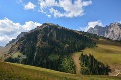 Vista del paesaggio della montagna nel Kirghizistan fotografia stock libera da diritti