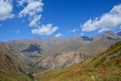 Vista del paesaggio della montagna nel Kirghizistan Erba verde nella vista della valle della montagna Panorama della montagna immagini stock