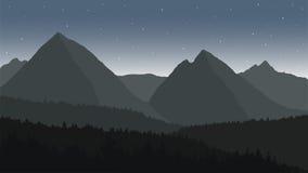 Vista del paesaggio della montagna sotto il cielo notturno Fotografie Stock