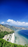 Vista del paesaggio della spiaggia del punto di riferimento di rei di Cristo vicino a Dili Timor Est Fotografie Stock