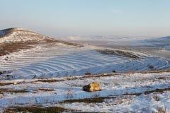 Vista del paesaggio di inverno dalla cittadella di Histria Fotografie Stock Libere da Diritti