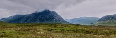 Vista del paesaggio di panorama di MOR di Buachaille Etive, Scozia Fotografie Stock Libere da Diritti