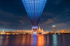 Vista del paesaggio di tramonto da sotto il ponte stradale Trasporto, ingegneria civile dell'architetto, o concetto di industria  fotografia stock