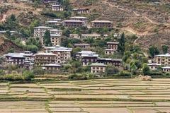 Vista del paesaggio e dell'architettura del Bhutan Fotografia Stock Libera da Diritti