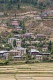 Vista del paesaggio e dell'architettura del Bhutan Fotografie Stock