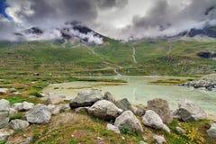 Vista del paesaggio del ghiacciaio di Moiry Immagini Stock Libere da Diritti