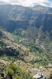 Vista del paesaggio sulla valle di Valle Gran Rey Fotografie Stock