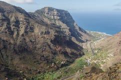 Vista del paesaggio sulla valle di Valle Gran Rey Fotografie Stock Libere da Diritti