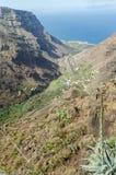 Vista del paesaggio sulla valle di Valle Gran Rey Fotografia Stock