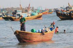 Vista del paesino di pescatori di Mui Ne Immagine Stock