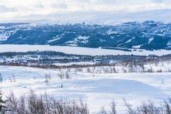 Vista del paisaje nevoso en Beitostolen Foto de archivo