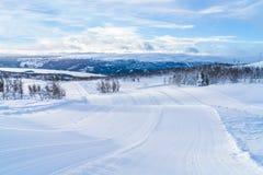 Vista del paisaje nevoso en Beitostolen Fotos de archivo libres de regalías