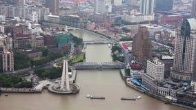 Vista del paisaje urbano de Shangai, Shangai, China almacen de metraje de vídeo