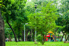 Vista del parco di Lumpini, Bangkok Fotografie Stock Libere da Diritti