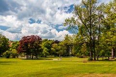 Vista del parco di Marianske Lazne fotografie stock libere da diritti