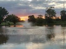 Vista del parco di tramonto Fotografie Stock Libere da Diritti