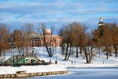 Vista del parco di Tsaritsyno a Mosca Stagno congelato Fotografie Stock