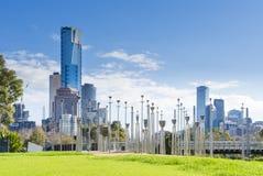 Vista del parque de Birrarung Marr en Melbourne Imágenes de archivo libres de regalías