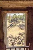 Vista del patio del templo de Phuon de los vagos, Angkor Thom, Siem Reap, Camboya Fotos de archivo libres de regalías