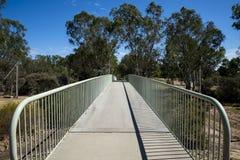 Vista del peatón de Maali Bridge y del puente de los ciclistas en el cisne Vall Foto de archivo