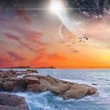 Vista del pianeta da una spiaggia royalty illustrazione gratis