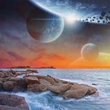 Vista del pianeta da una spiaggia illustrazione vettoriale