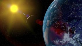 Vista del pianeta Terra con la luna da spazio durante gli elementi di una rappresentazione di alba 3D di questa immagine ammobili illustrazione di stock