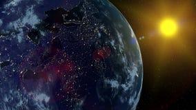 Vista del pianeta Terra da spazio durante gli elementi di una rappresentazione di alba 3D di questa immagine ammobiliati dalla NA illustrazione di stock
