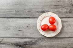 Vista del piano d'appoggio - tre pomodori freschi sul piatto bianco immagine stock libera da diritti