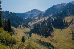 Vista del picco di Furmanov nella regione di Almaty, il Kazakistan Fotografia Stock Libera da Diritti