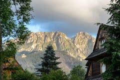Vista del picco di Giewont, montagne di Tatra, Polonia Fotografie Stock Libere da Diritti