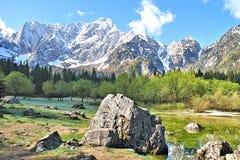 Vista del picco di Mangarts, Slovenia Fotografia Stock
