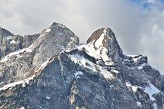 Vista del picco di Mangarts, Slovenia del primo piano Fotografia Stock