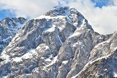 Vista del picco di Mangarts, Slovenia del primo piano Fotografia Stock Libera da Diritti