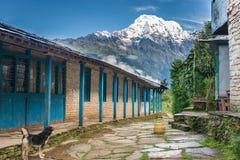 Vista del picco di montagna nevicato da una casetta turistica in Himalaya, Nepal Fotografie Stock