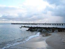 Vista del pilastro e del Mar Baltico Fotografie Stock Libere da Diritti