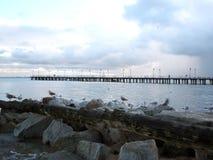 Vista del pilastro e del Mar Baltico Fotografia Stock