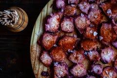 Vista del plato gallego del pulpo foto de archivo
