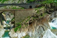 Vista del ponte del ` s del diavolo, Andermatt, Svizzera Fotografia Stock