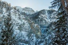 Vista del ponte del ` s di Queen Mary dal castello del Neuschwanstein nell'inverno Fotografia Stock