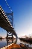 Vista del ponte di Ben Franklin di Filadelfia Fotografie Stock Libere da Diritti