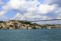 Vista del ponte di Bosphorus, Costantinopoli, Turchia Fotografie Stock Libere da Diritti