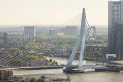 Vista del ponte di ERASMUS sul fiume Nieuwe Mosa fotografia stock