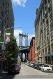 Vista del ponte di Manhattan Immagini Stock