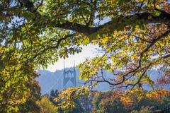 Vista del ponte di St Johns attraverso il fogliame degli alberi di autunno immagine stock libera da diritti